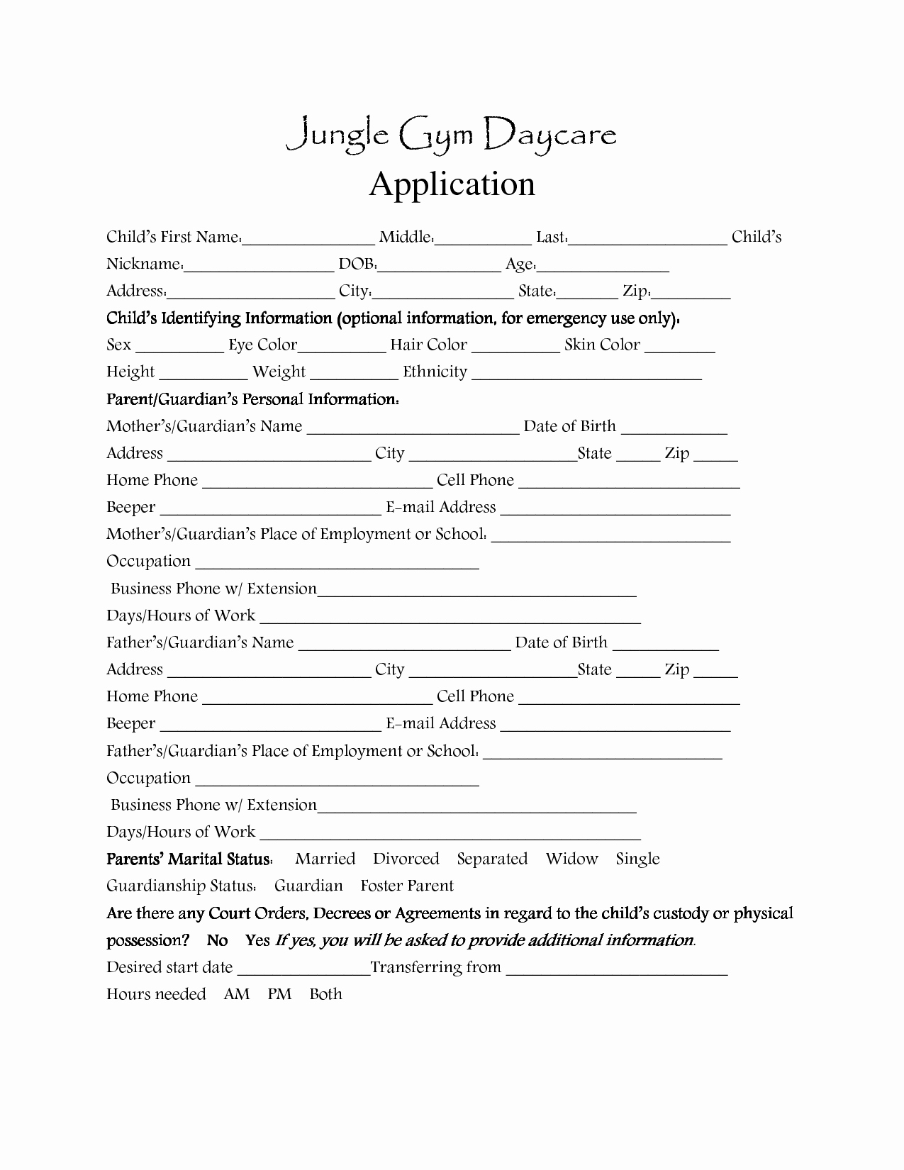 Child Care Application Template Inspirational Day Care Application forms Template Daycare
