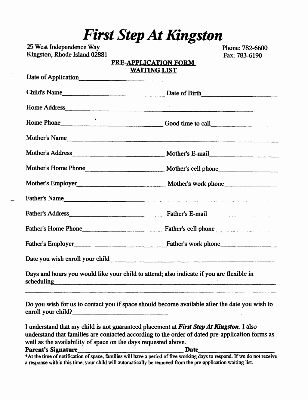 Child Care Application Template Luxury form Child Care Enrollment form