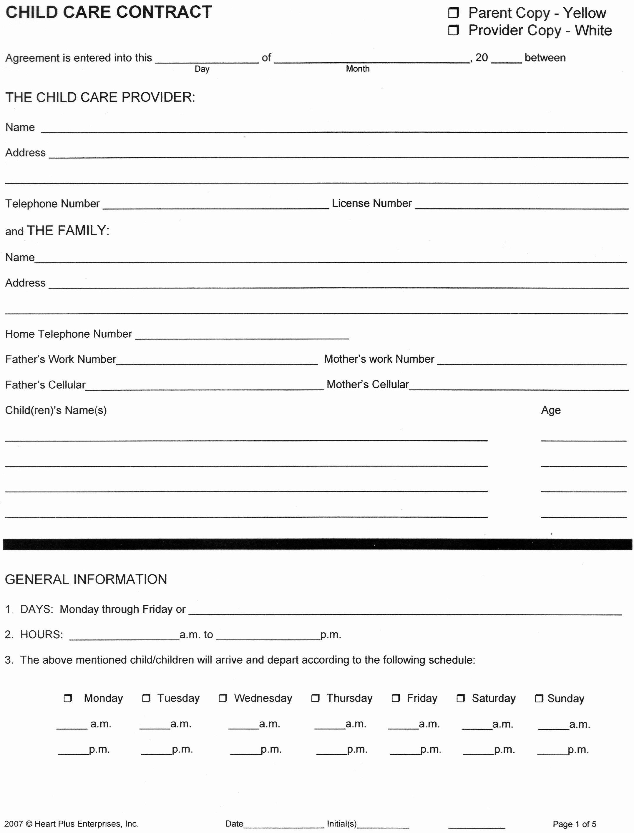 Child Care Application Template Luxury Home Child Care forms Child Care Contract 1