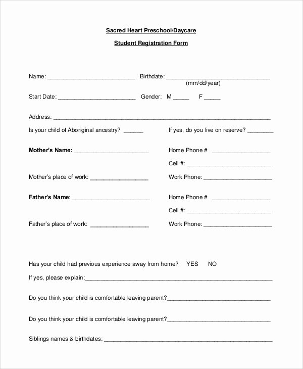 Child Care Application Template Unique 10 Sample Daycare forms