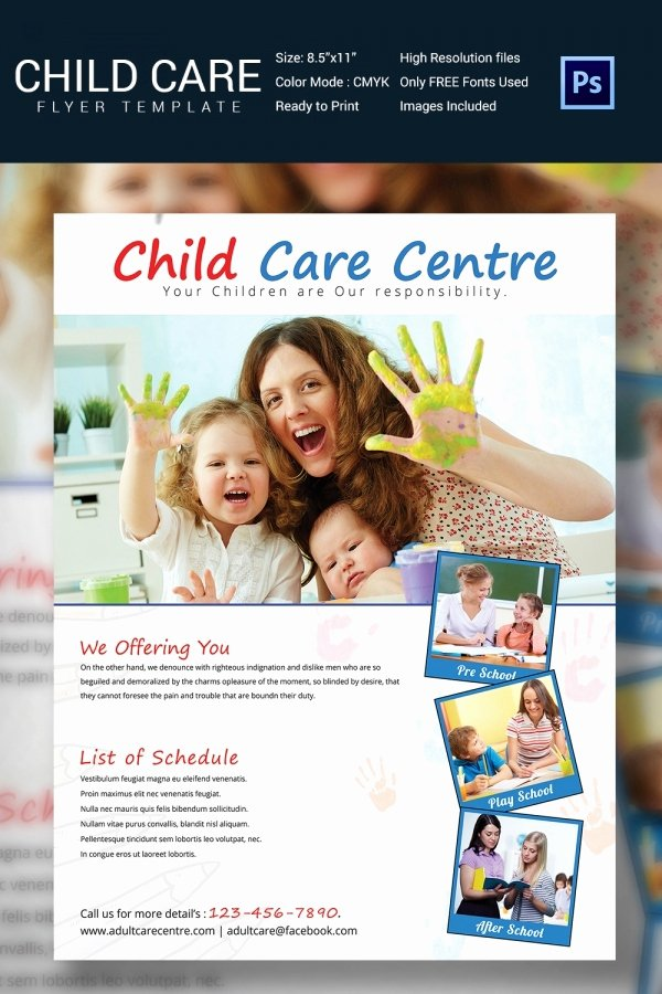 Child Care Flyer Template Beautiful Daycare Flyer Template 30 Free Psd Ai Vector Eps