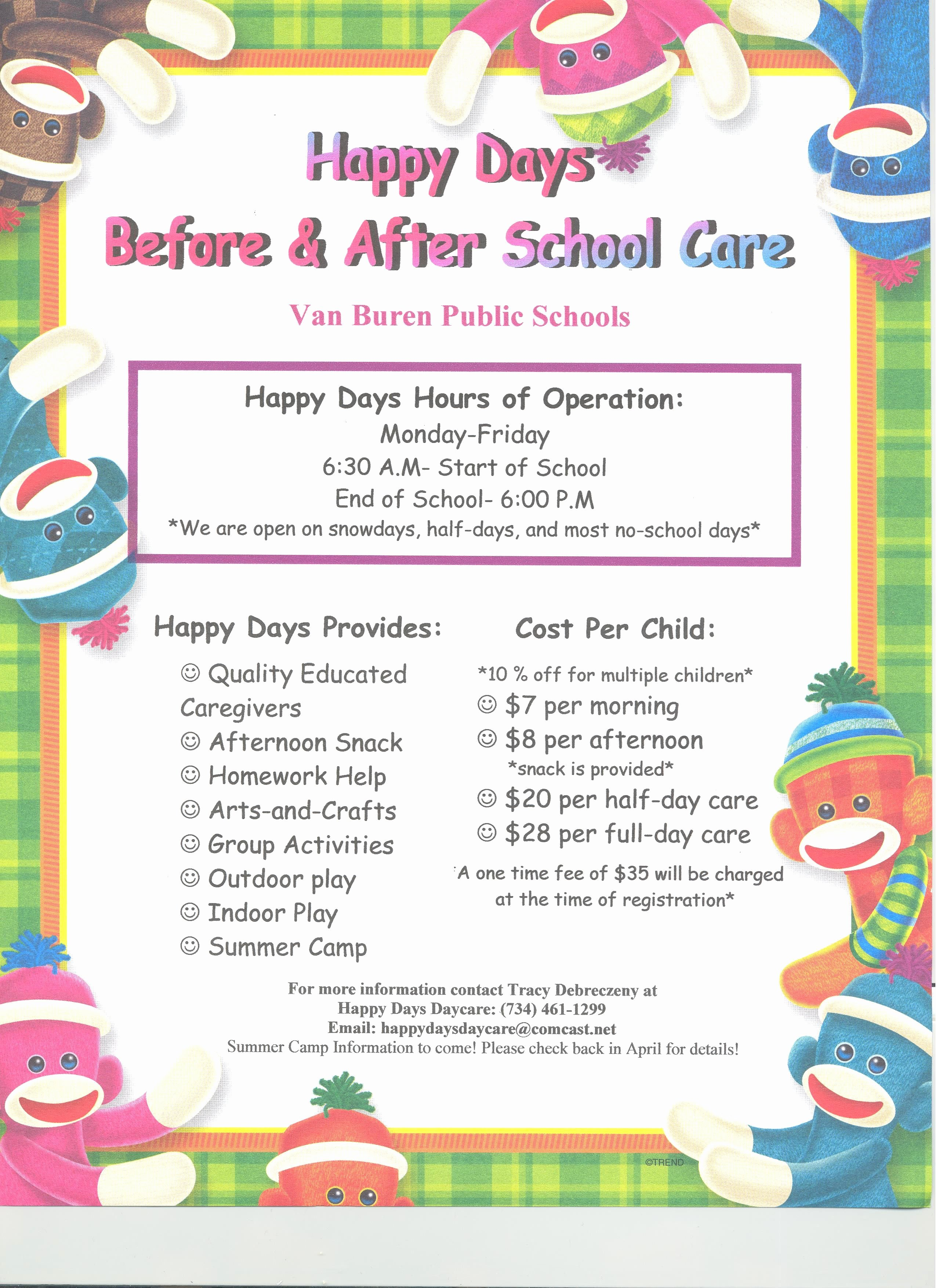 Child Care Flyer Template Inspirational Please See the Happy Days Day Care Flyer