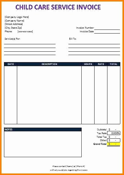 Child Care Invoice Template Awesome 13 Child Care Receipt Template