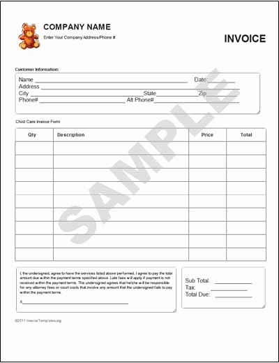 Child Care Invoice Template Awesome Child Care Invoice Template