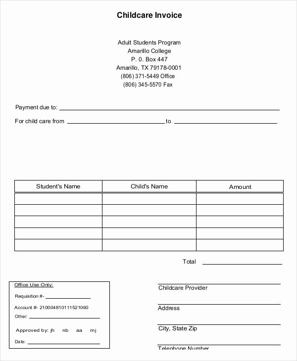 Child Care Invoice Template Best Of 5 Daycare Invoice Examples & Samples