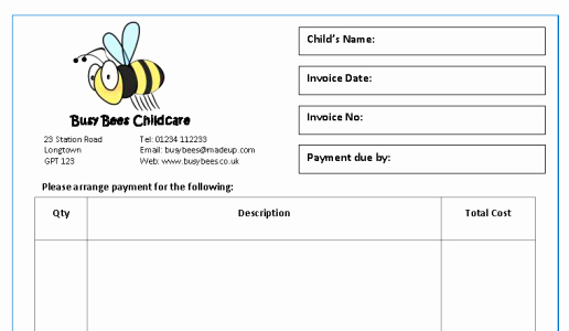 Child Care Invoice Template Best Of Child Care Invoice Template Uk Madridistasdegalicia