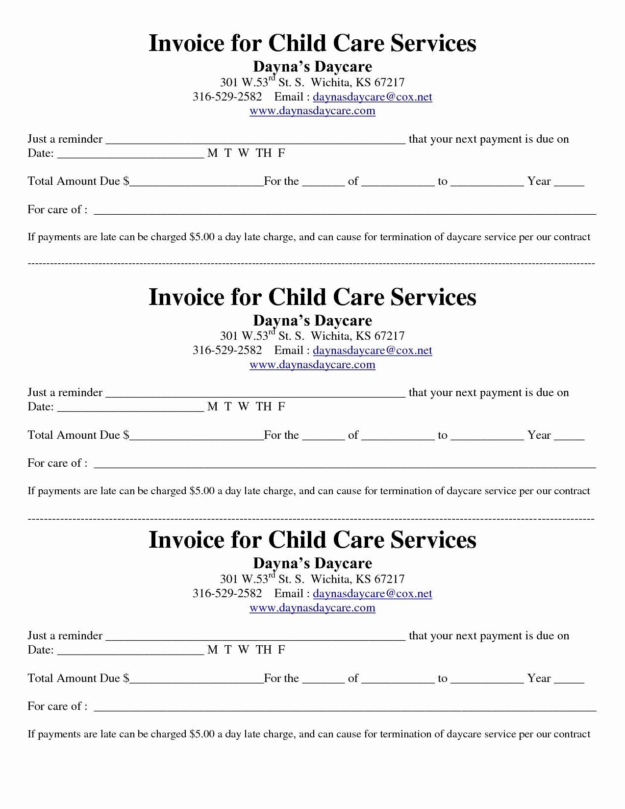 Child Care Invoice Template Best Of Child Care Receipt Invoice Jordi Preschool