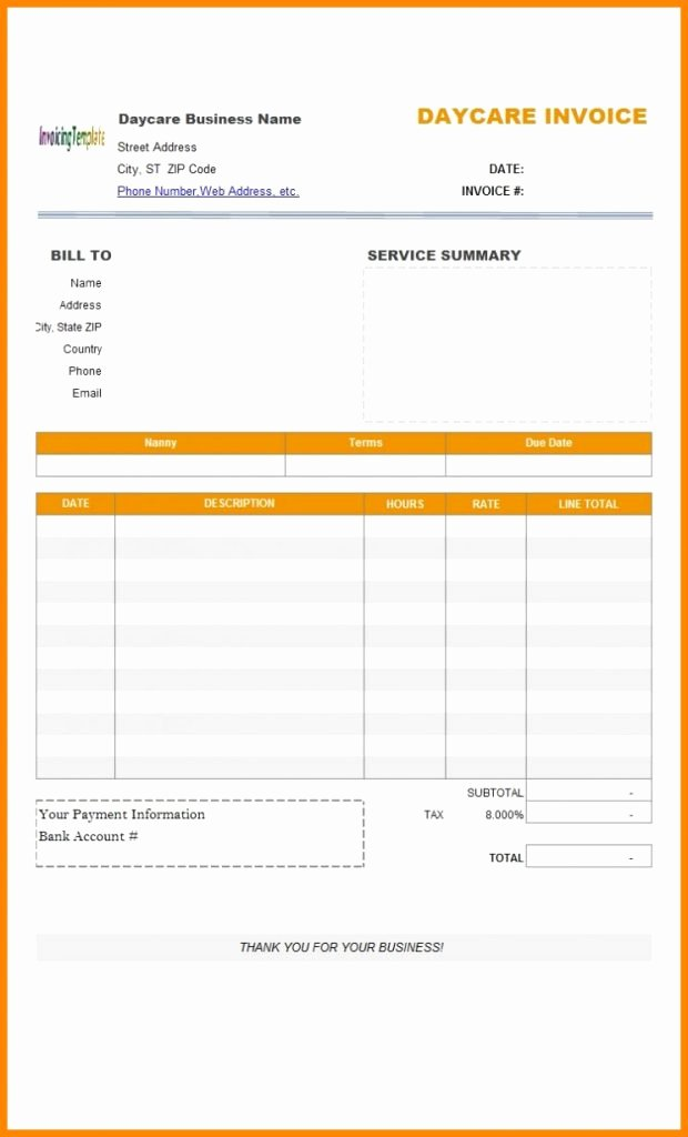 Child Care Invoice Template Lovely Child Care Invoice Template Excel Word Receipt Example
