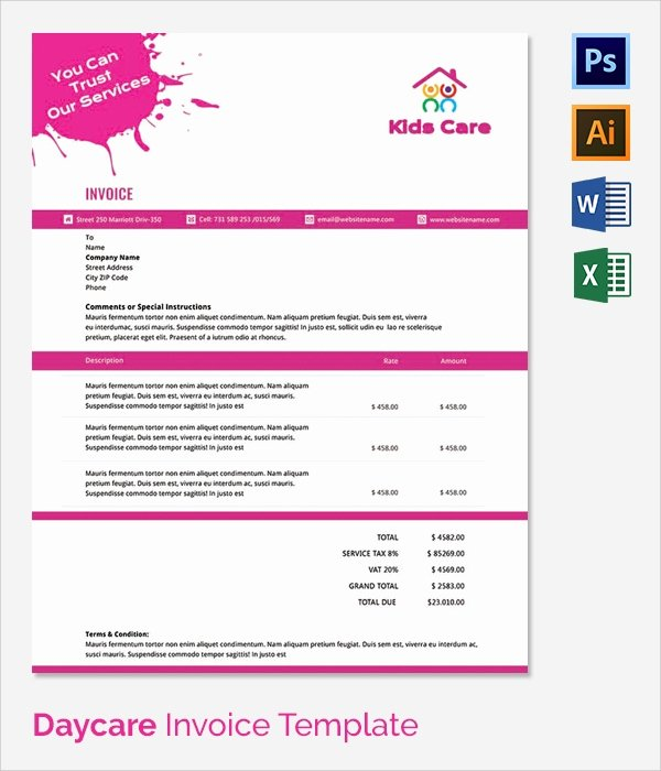 Child Care Invoice Template Luxury 38 Invoice Templates Free Sample Example format