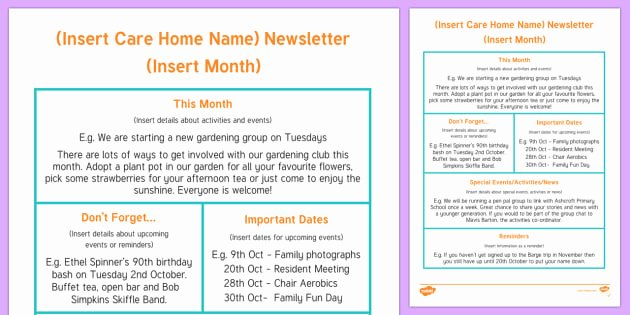 Child Care Newsletter Template Awesome Care Home Newsletter Writing Template Care Home Newsletter