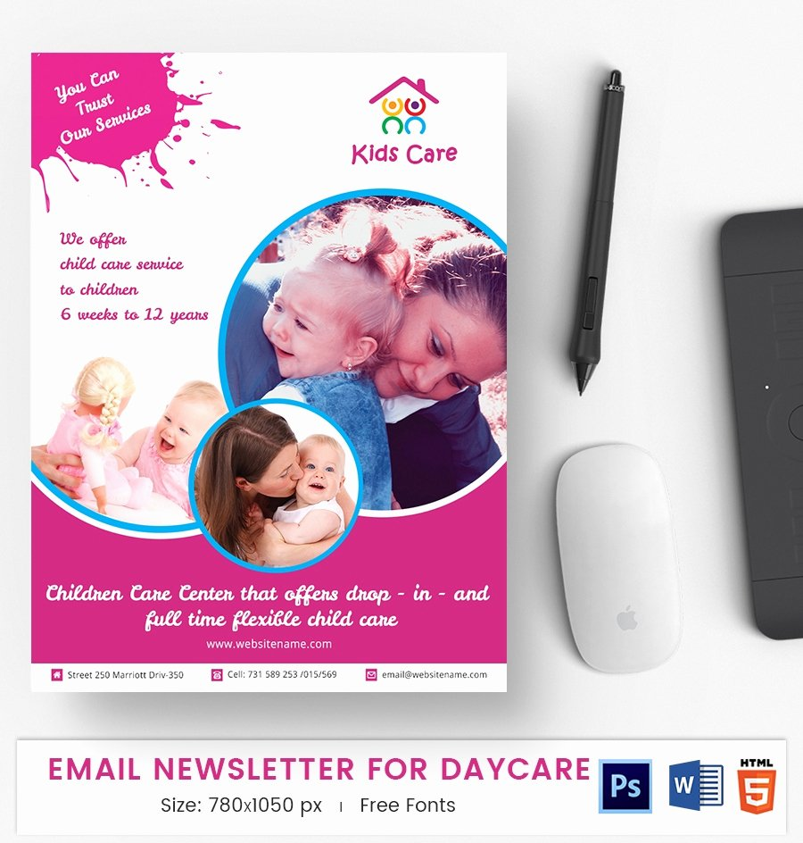 Child Care Newsletter Template Lovely 51 E Mail Newsletter Word Psd HTML format