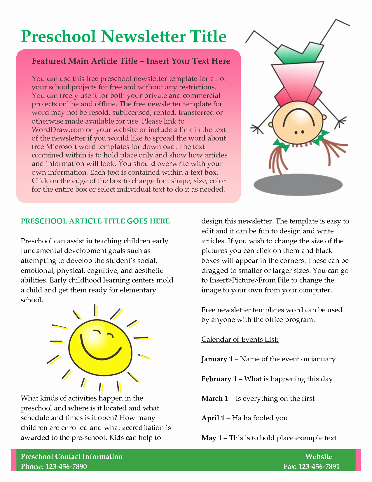 Child Care Newsletter Template Lovely Best S Of Printable Preschool Newsletters Free