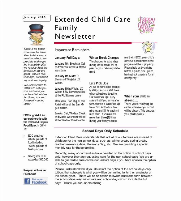Child Care Newsletter Template Luxury 10 Family Newsletter Templates Free Sample Example