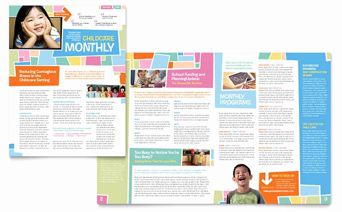 Child Care Newsletter Template Luxury Preschool Kids & Day Care Newsletter Template Design