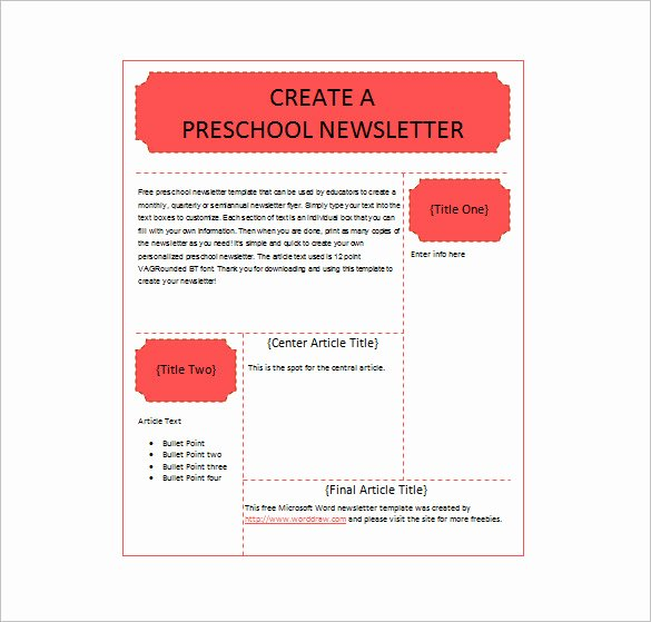 Child Care Newsletter Template Unique 13 Printable Preschool Newsletter Templates Pdf Doc