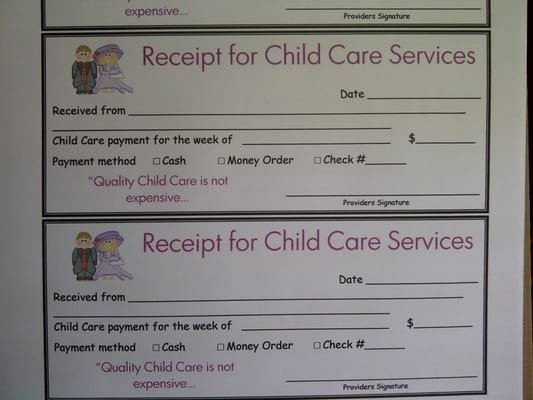 Child Care Receipt Template Elegant Receipt for Daycare Services