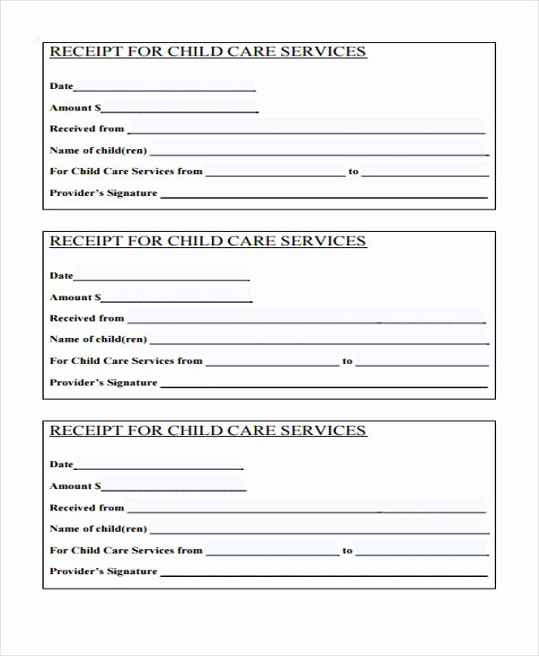 Child Care Receipt Template Fresh Printable Receipt forms 41 Free Documents In Word Pdf