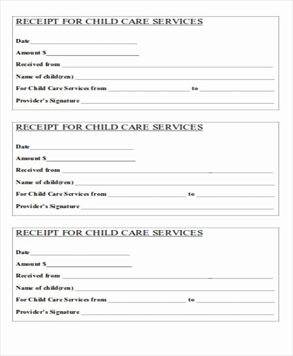 Child Care Receipt Template New 39 Free Receipt forms