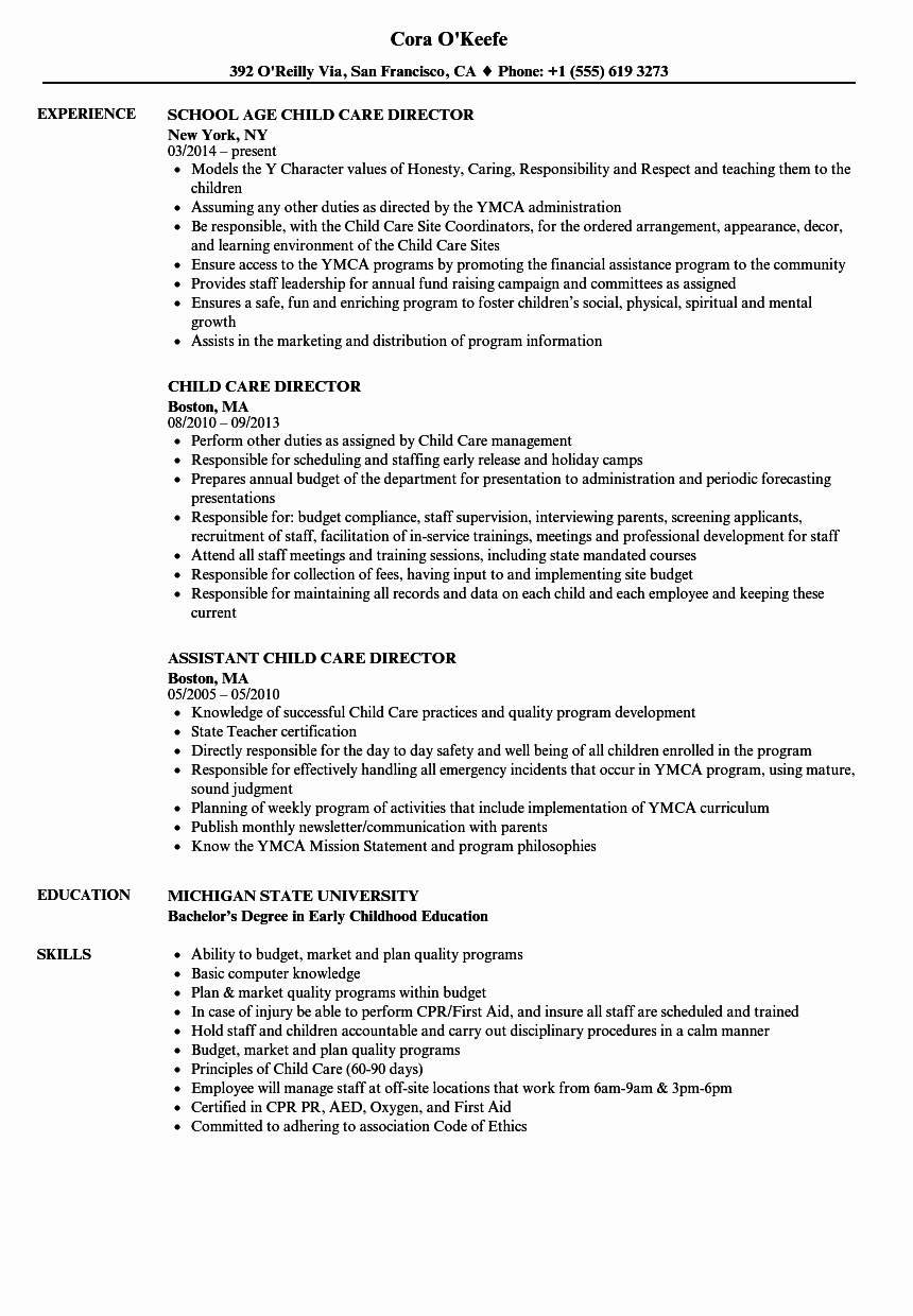 Child Care Resume Template Awesome Child Care Director Resume Annecarolynbird