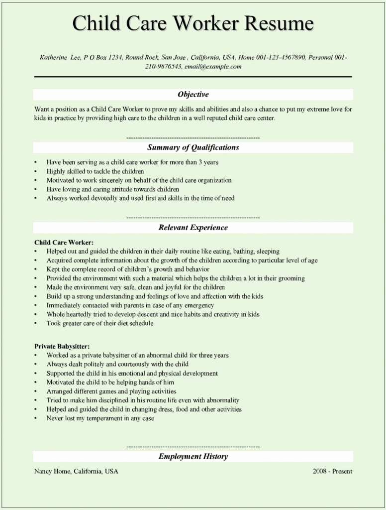 Child Care Resume Template Beautiful 35 Excellent Child Care Provider Skills for Resume We