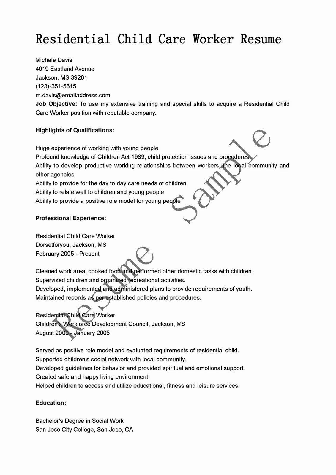 Child Care Resume Template Beautiful Resume Samples Residential Child Care Worker Resume Sample