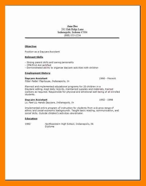 Child Care Resume Template Best Of 9 Daycare Worker Resume