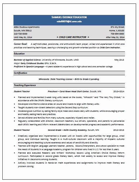 Child Care Resume Template Elegant Child Care Instructor Resume Sample