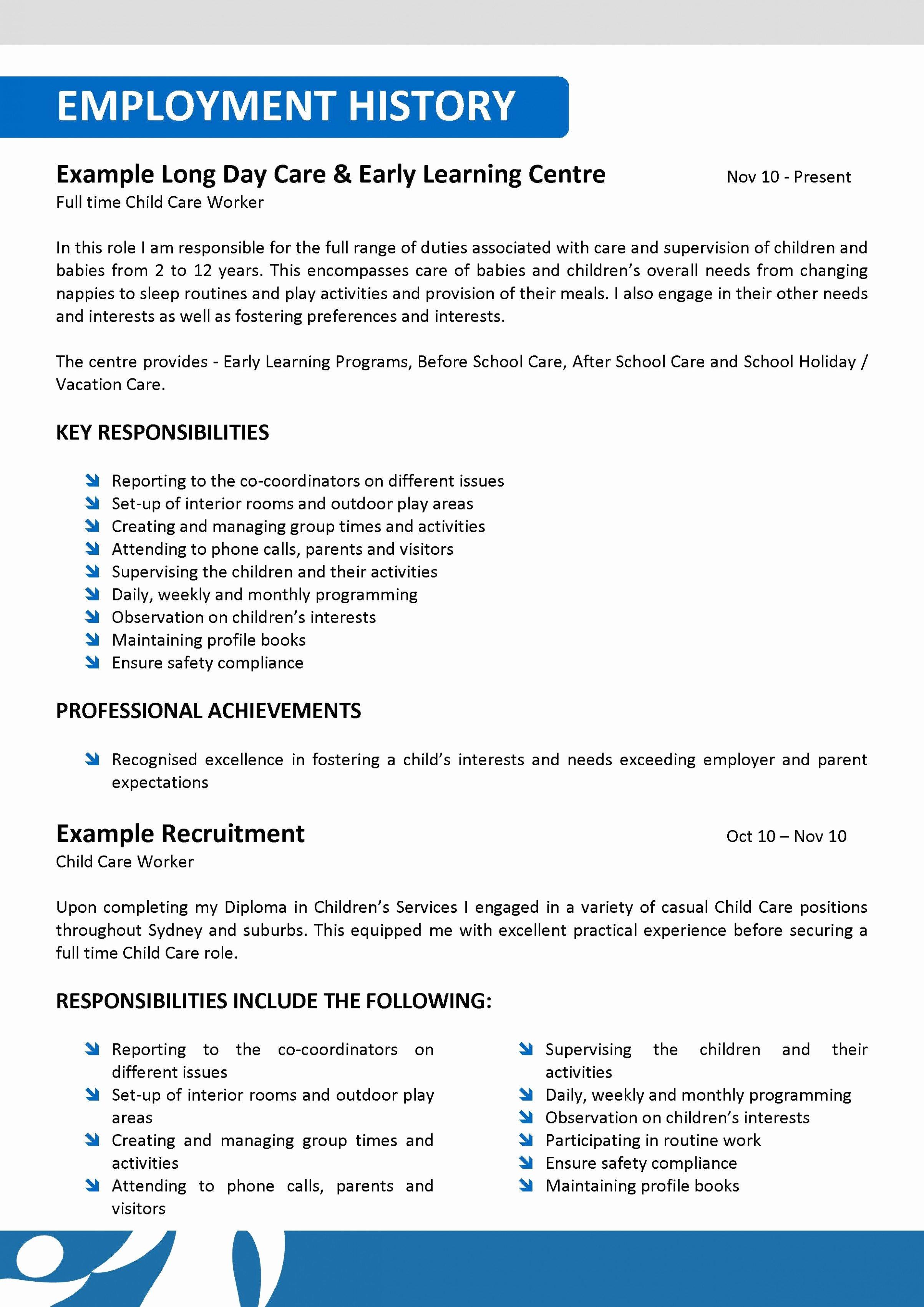 Child Care Resume Template Elegant Child Care Resume Australia Talktomartyb