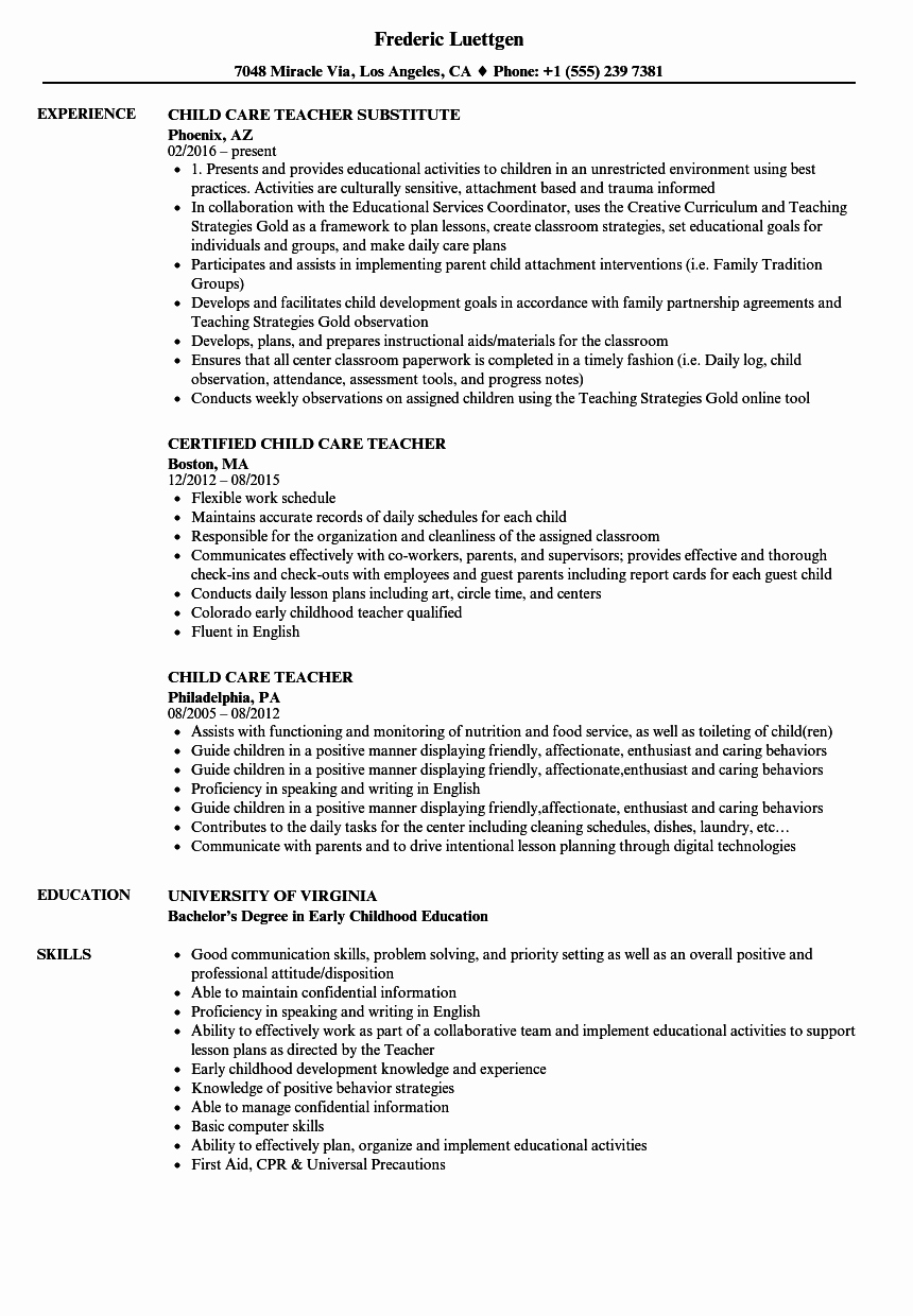 Child Care Resume Template Inspirational Child Care Teacher Resume Samples