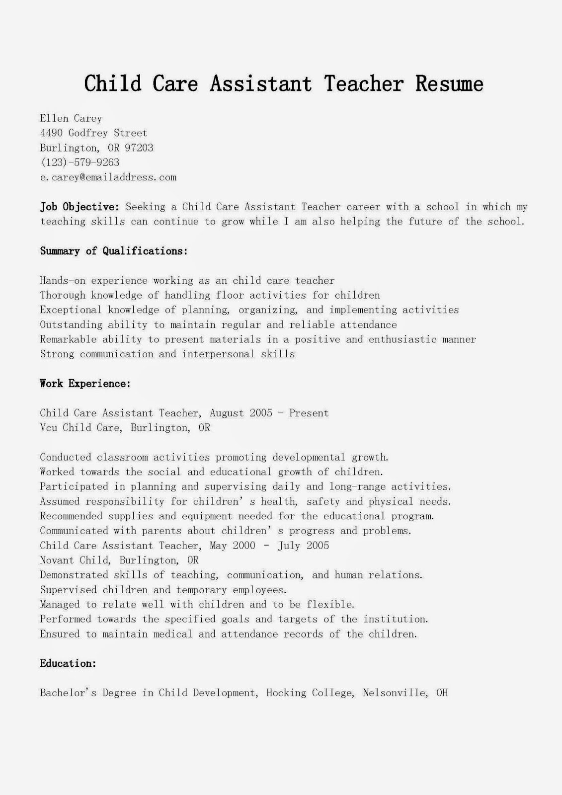 Child Care Resume Template Inspirational Resume Samples Child Care assistant Teacher Resume Sample