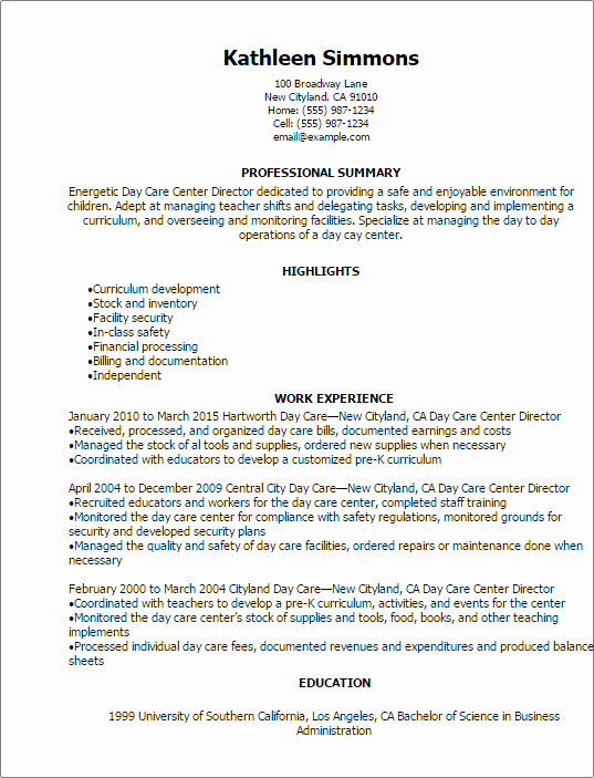 Child Care Resume Template Luxury 1 Day Care Center Director Resume Templates Try them now