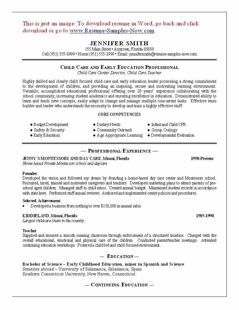 Child Care Resume Template Luxury 11 Child Care Sample Resume Best