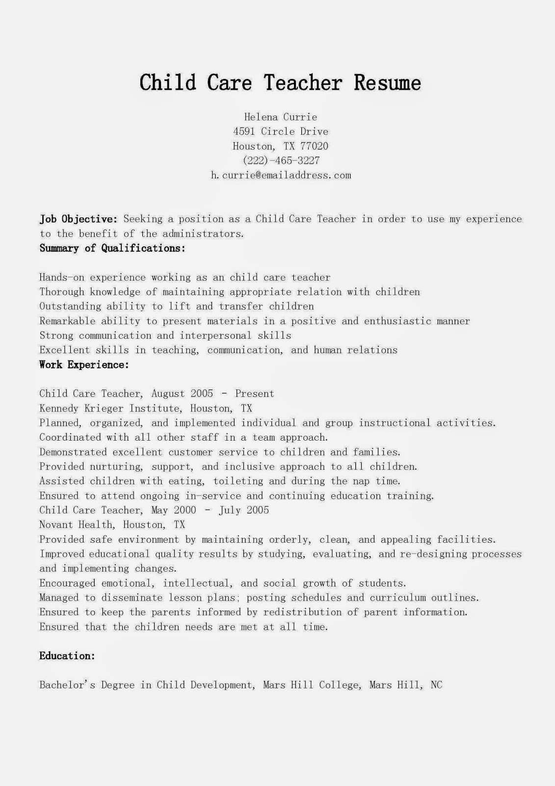 Child Care Resume Template Luxury Resume Samples Child Care Teacher Resume Sample
