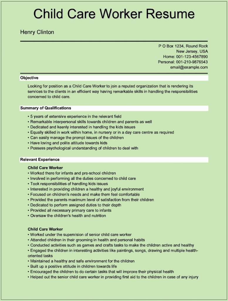 Child Care Resume Template Luxury Sample Child Care Worker Resumes for Microsoft Word C