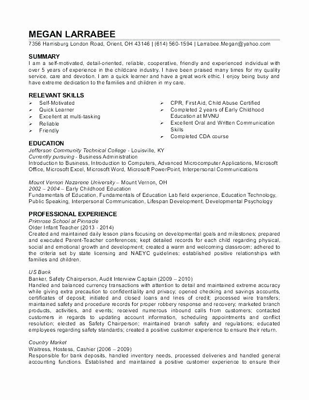 Child Care Resume Template Unique 10 11 Child Care Teacher Resume Sample