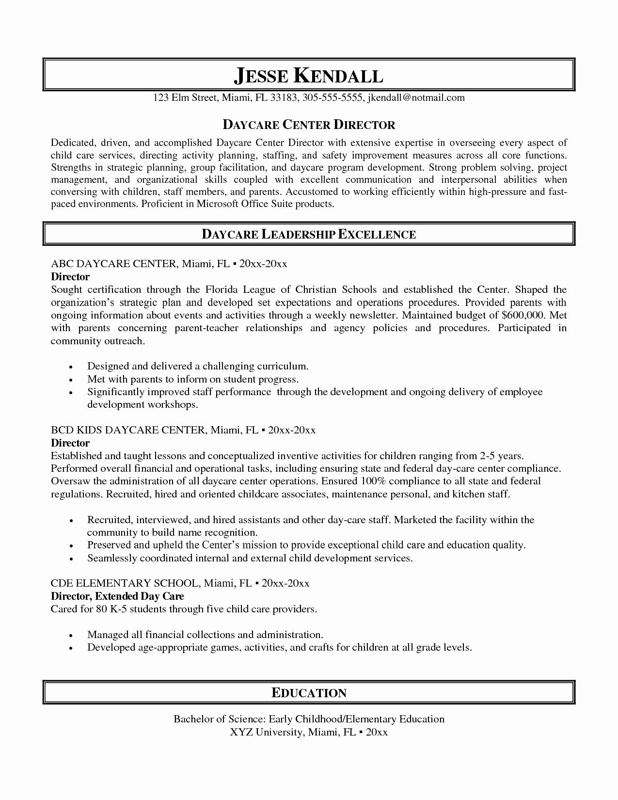 Child Care Resume Template Unique Impressive Sample Resume for Daycare Worker Also Child