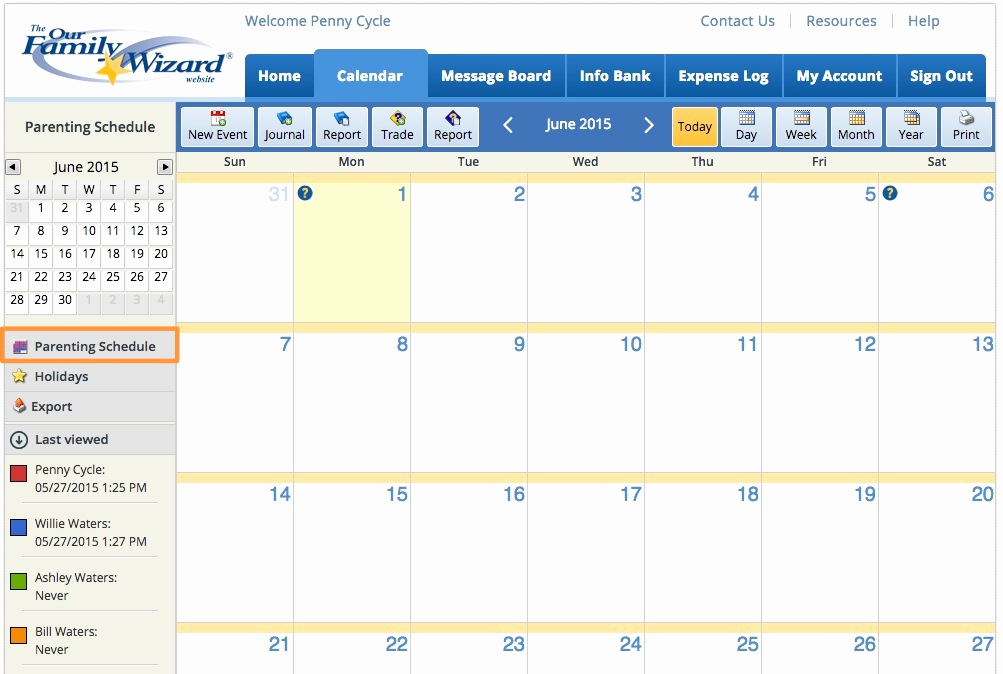 Child Custody Calendar Template Luxury Parenting Plan Examples A Plan that Fits Your Needs