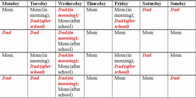 Child Custody Calendar Template New Child Custody and Parenting Time