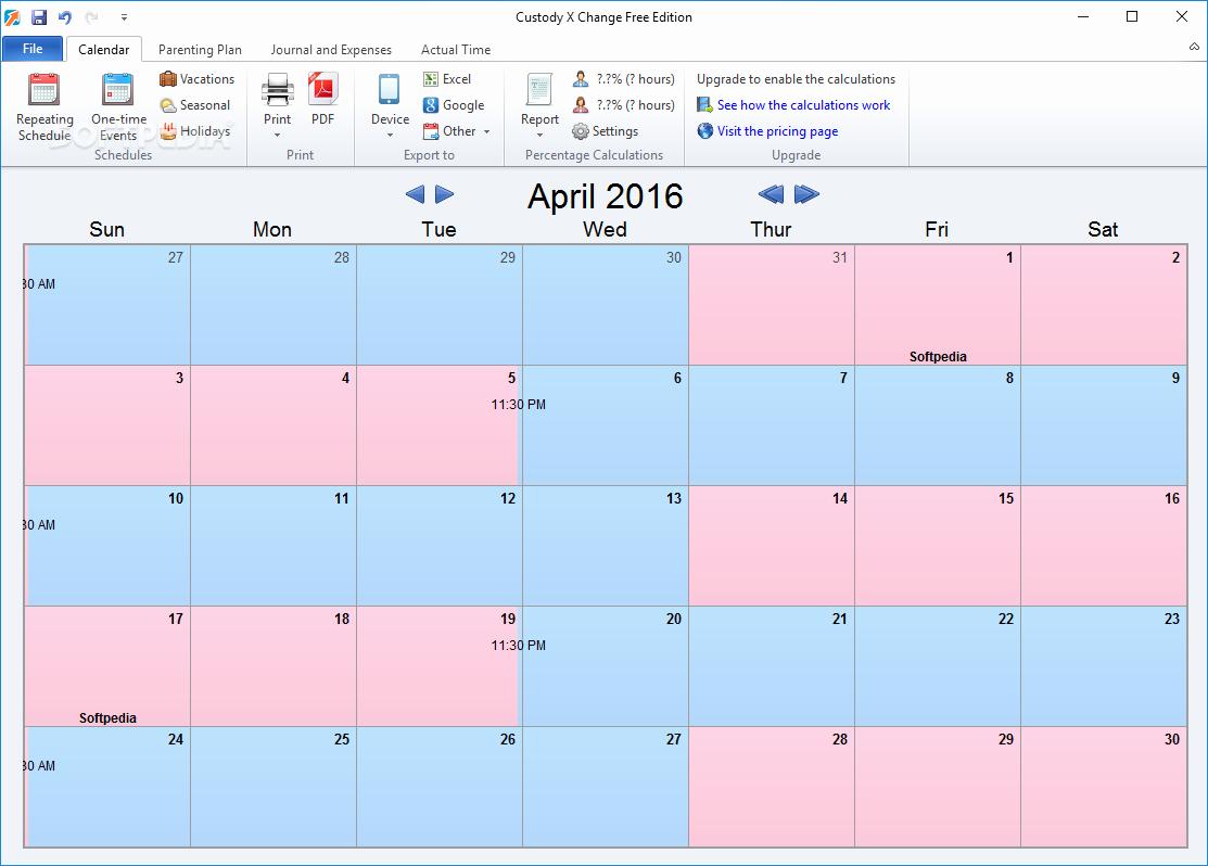 Child Custody Calendar Template New Download Custody X Change 5 25