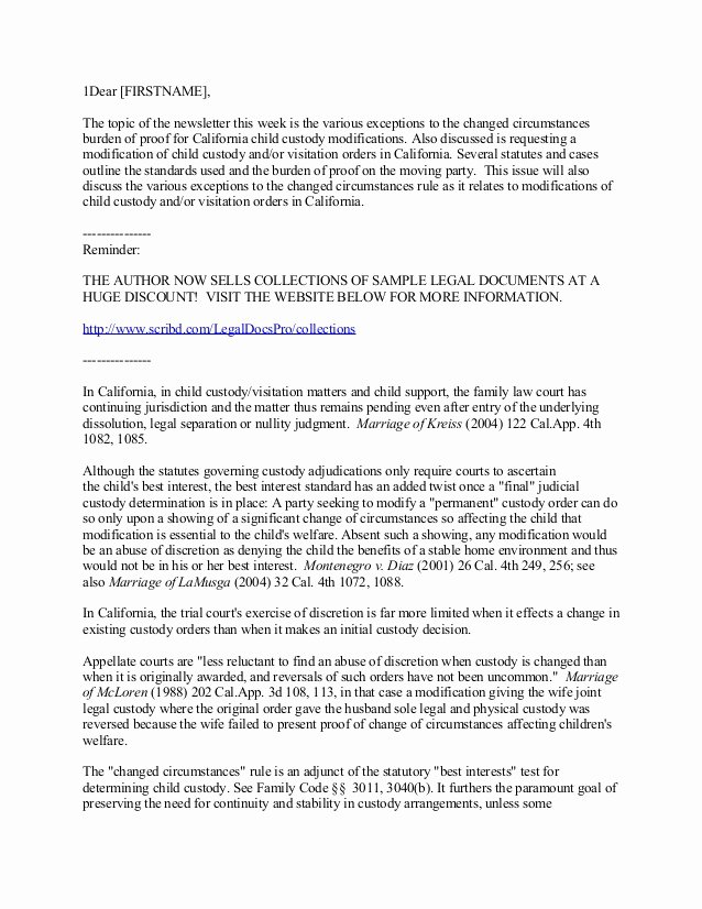 Child Custody Letter Template Awesome California Child Custody and Visitation Modifications