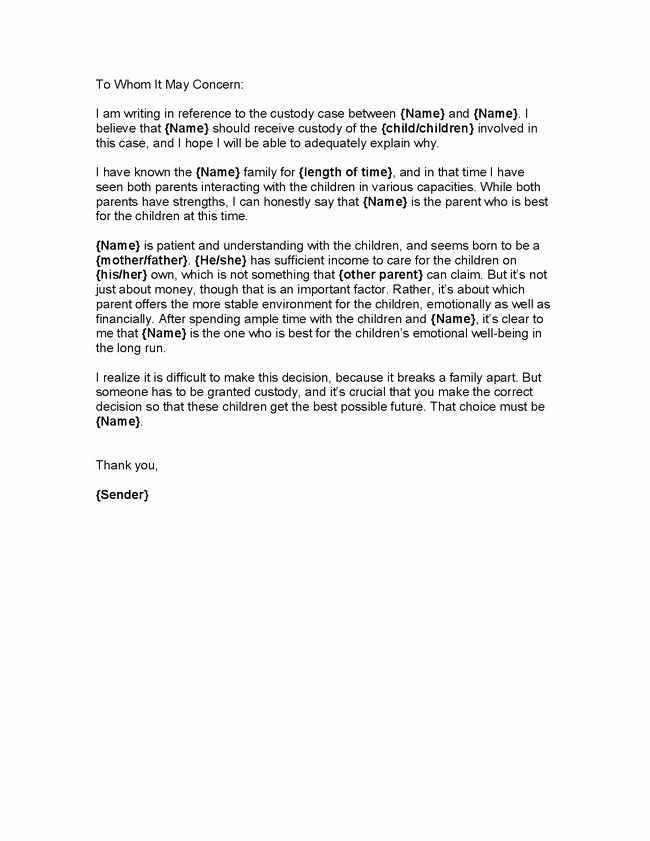 Child Custody Letter Template Best Of 10 11 Letter Of Character for Child Custody