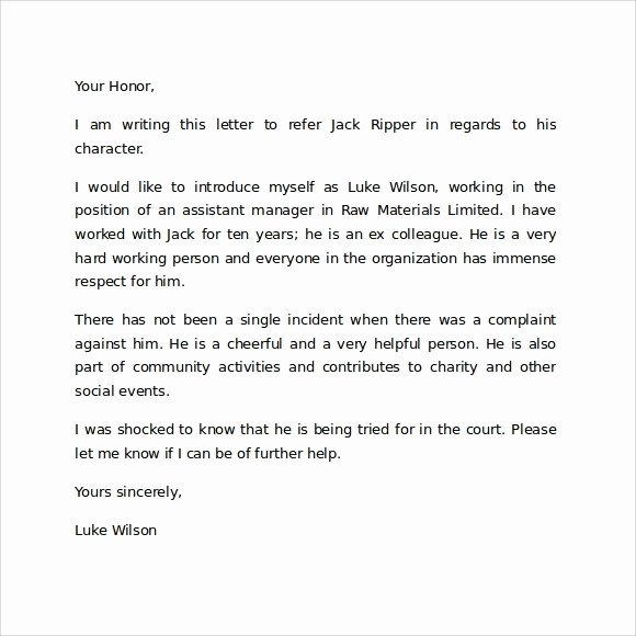 Child Custody Letter Template Best Of Sample Character Reference Letter for Court – 6 Documents