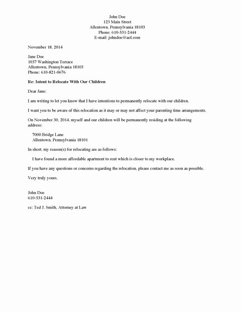 Child Custody Letter Template Elegant Best S Of Request to Move Out Letter Move Out