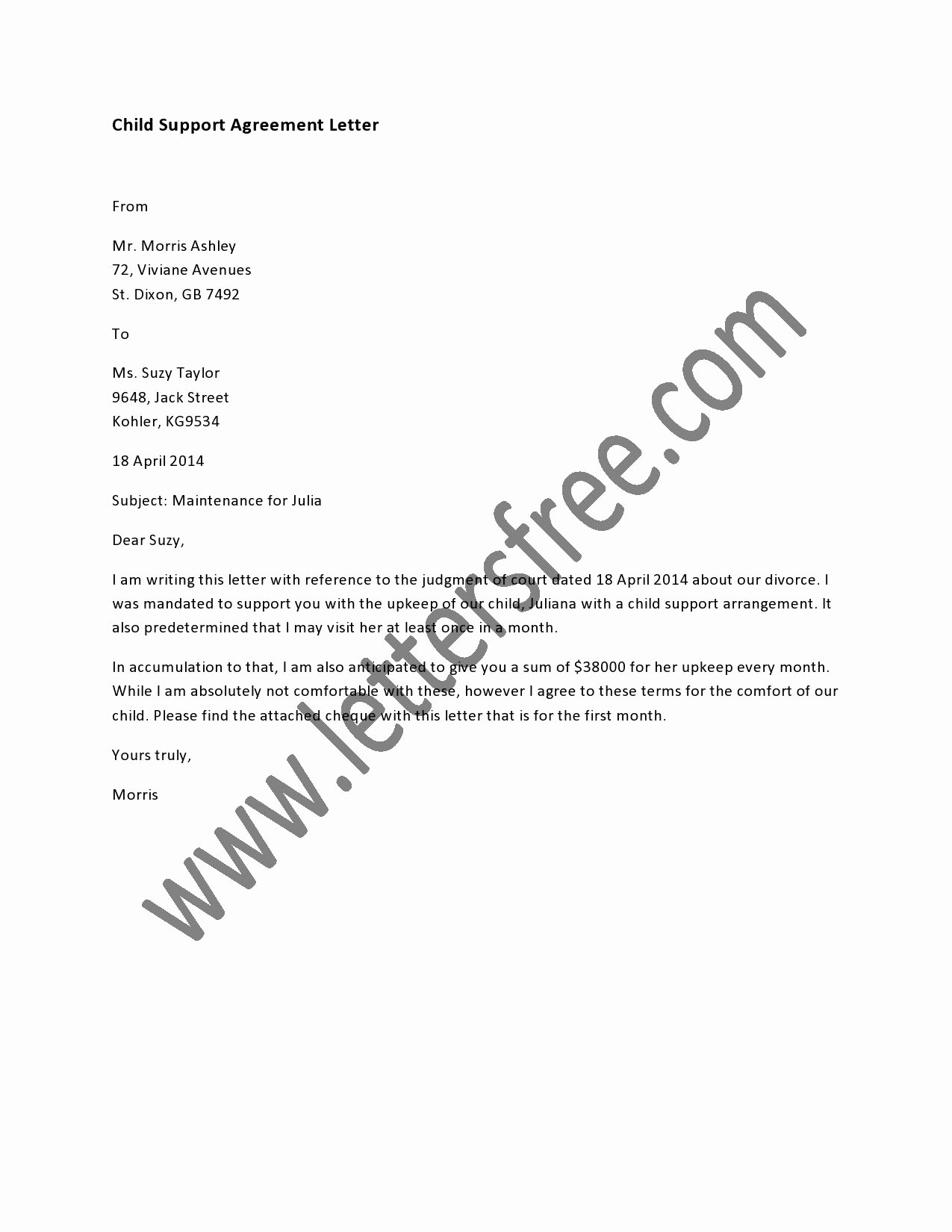 Child Support Agreement Template Fresh A Written Child Support Agreement Between Parents is