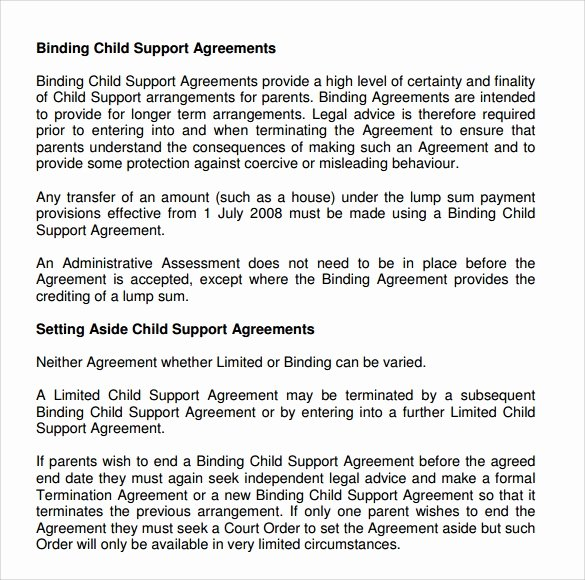 Child Support Agreement Template Inspirational Child Support Agreement 9 Download Free Documents In Pdf
