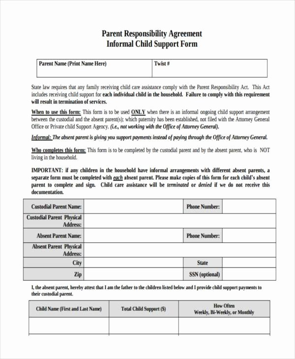 Child Support Agreement Template Lovely Sample Child Support Agreement forms 8 Free Documents