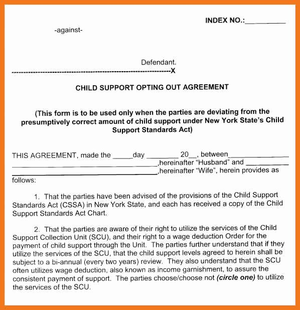 Child Support Agreement Template New 4 5 Child Support Agreement Letter