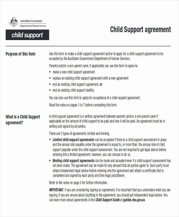 Child Support Agreement Template New 70 Agreement Examples