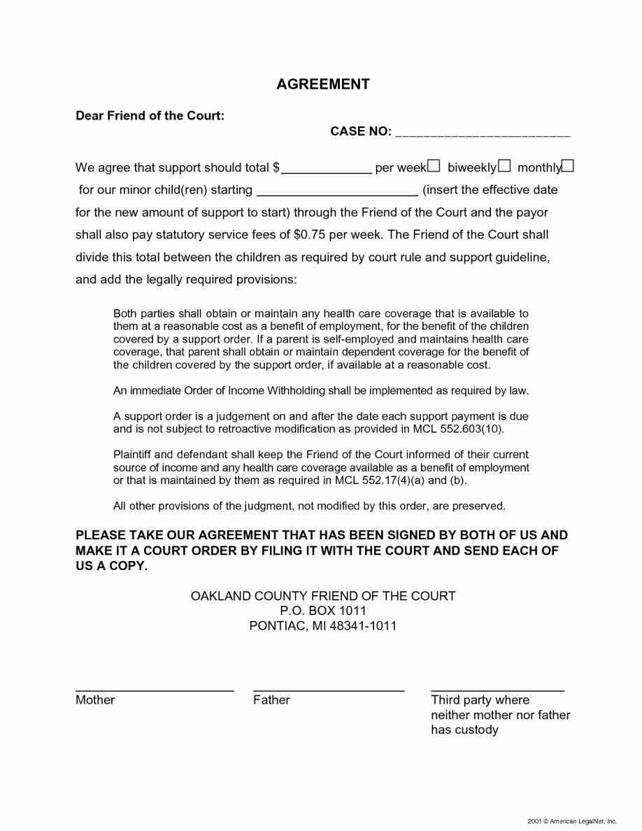 Child Support Agreement Template Unique Child Support Letter Agreement Examples No Florida