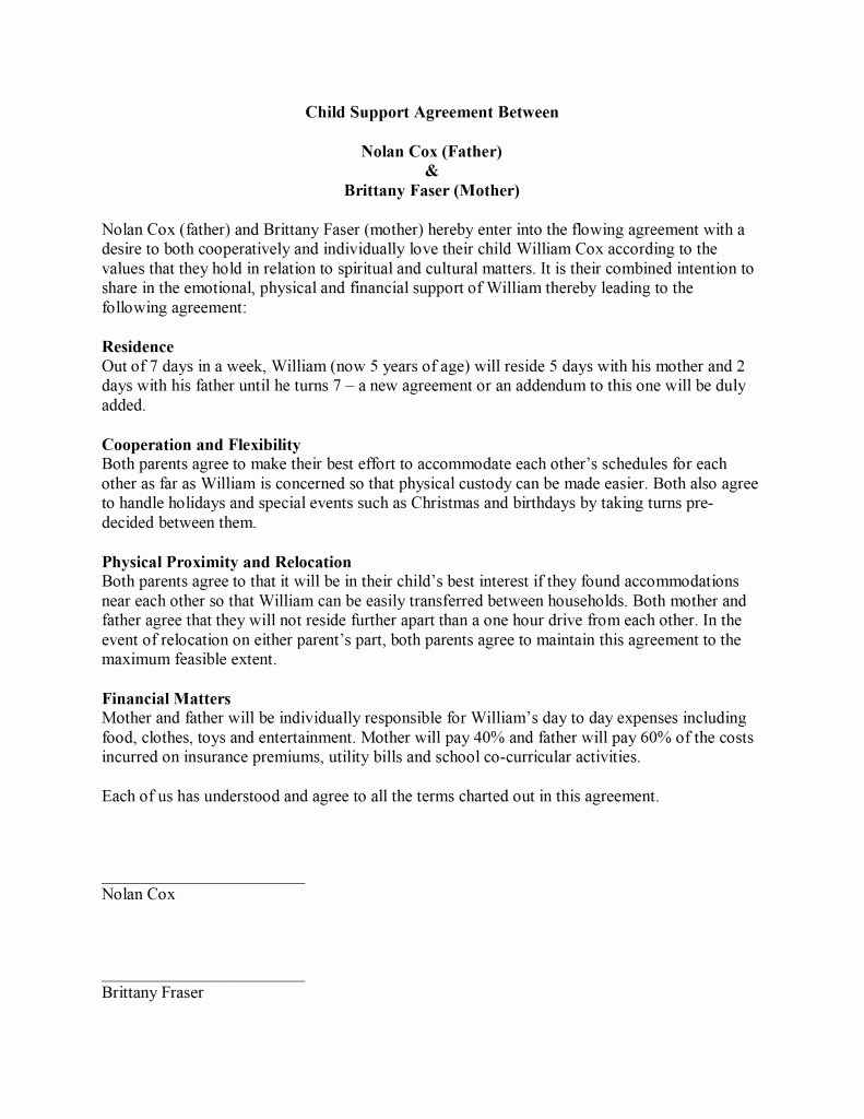 Child Support Letter Template Best Of Child Support Agreement Template Free Microsoft Word